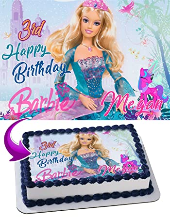 photo relating to Printable Edible Cake Toppers identify Barbie Edible Graphic Cake Topper Custom-made Icing Sugar