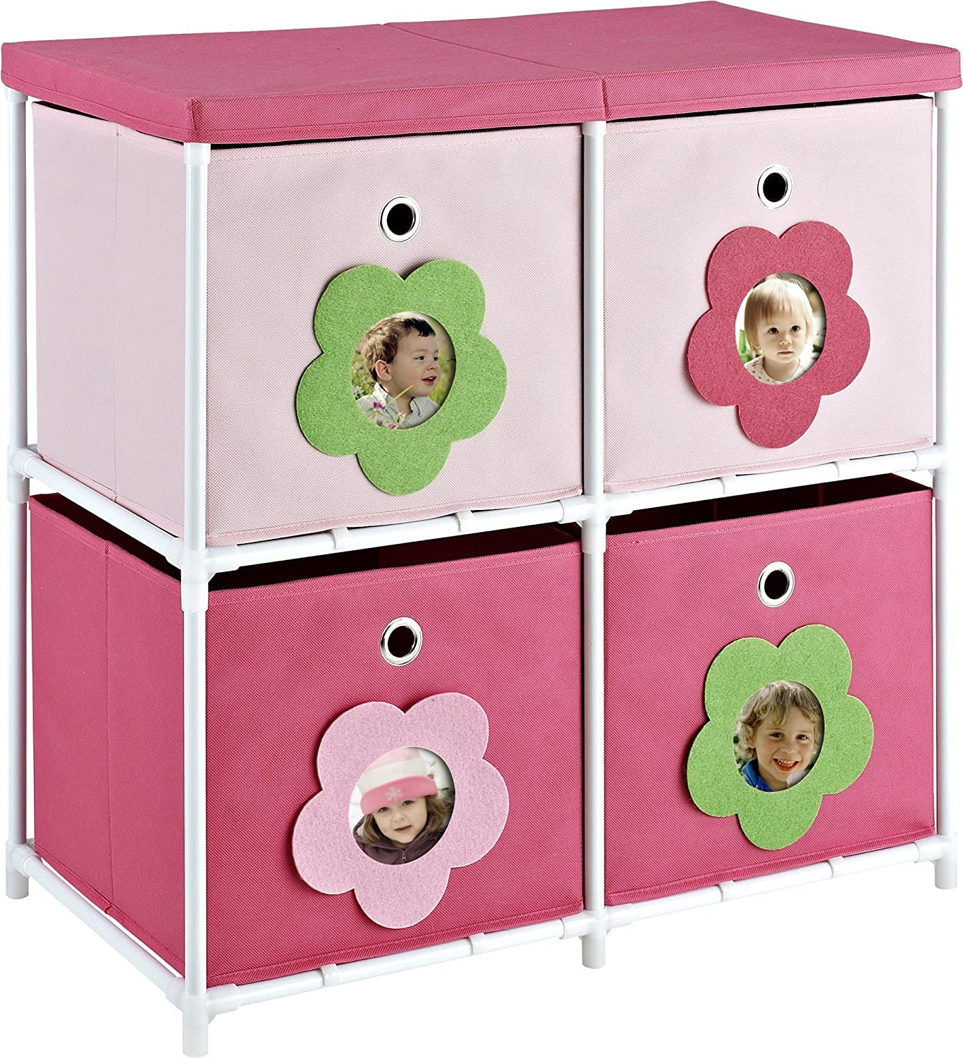 Amazon.com Cosco Blossom 4 Bin Storage Unit Pink/White Kitchen u0026 Dining  sc 1 st  Amazon.com & Amazon.com: Cosco Blossom 4 Bin Storage Unit Pink/White: Kitchen ...