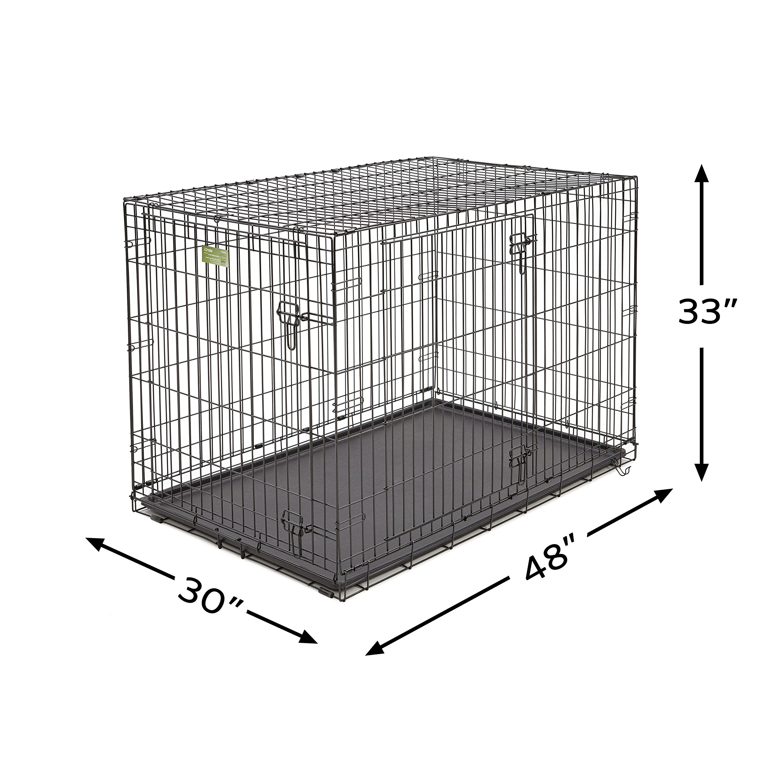 XL Dog Crate | MidWest iCrate Double Door Folding Metal Dog Crate w/ Divider Panel, Floor Protecting Feet & Leak-Proof Dog Tray | 48L x 30W x 33H Inches, XL Dog Breed, Black by MidWest Homes for Pets (Image #5)