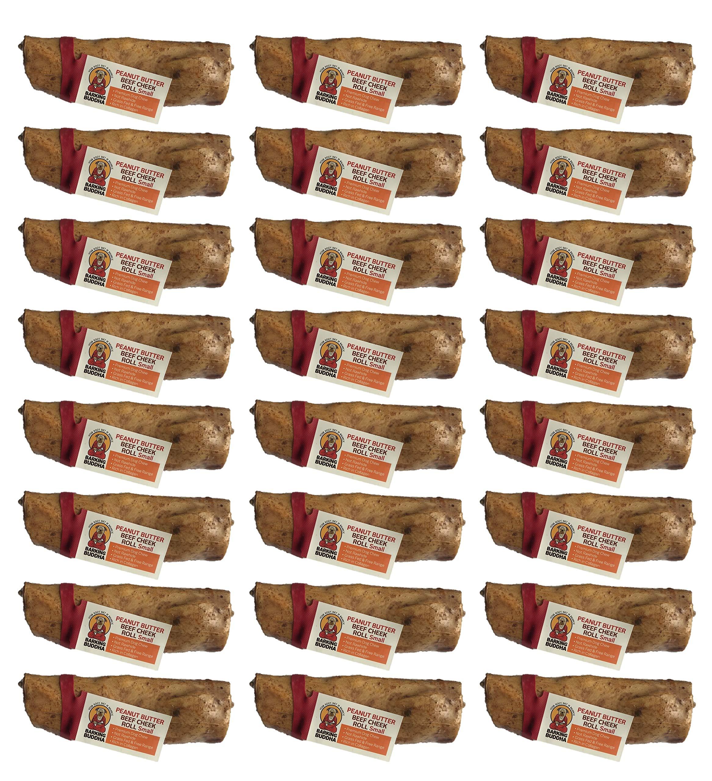 Barking Buddha Box of 24 Peanut Butter Beef Cheek Rolls, Small by Barking Buddha