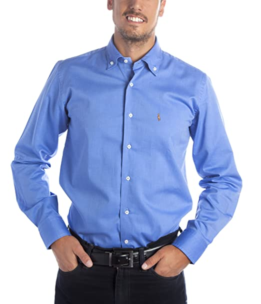 Deep Brody Camisa de Hombre Deep Frost Casual Italia. Puro algodón de Color  Azul. 31c8e233bef9a