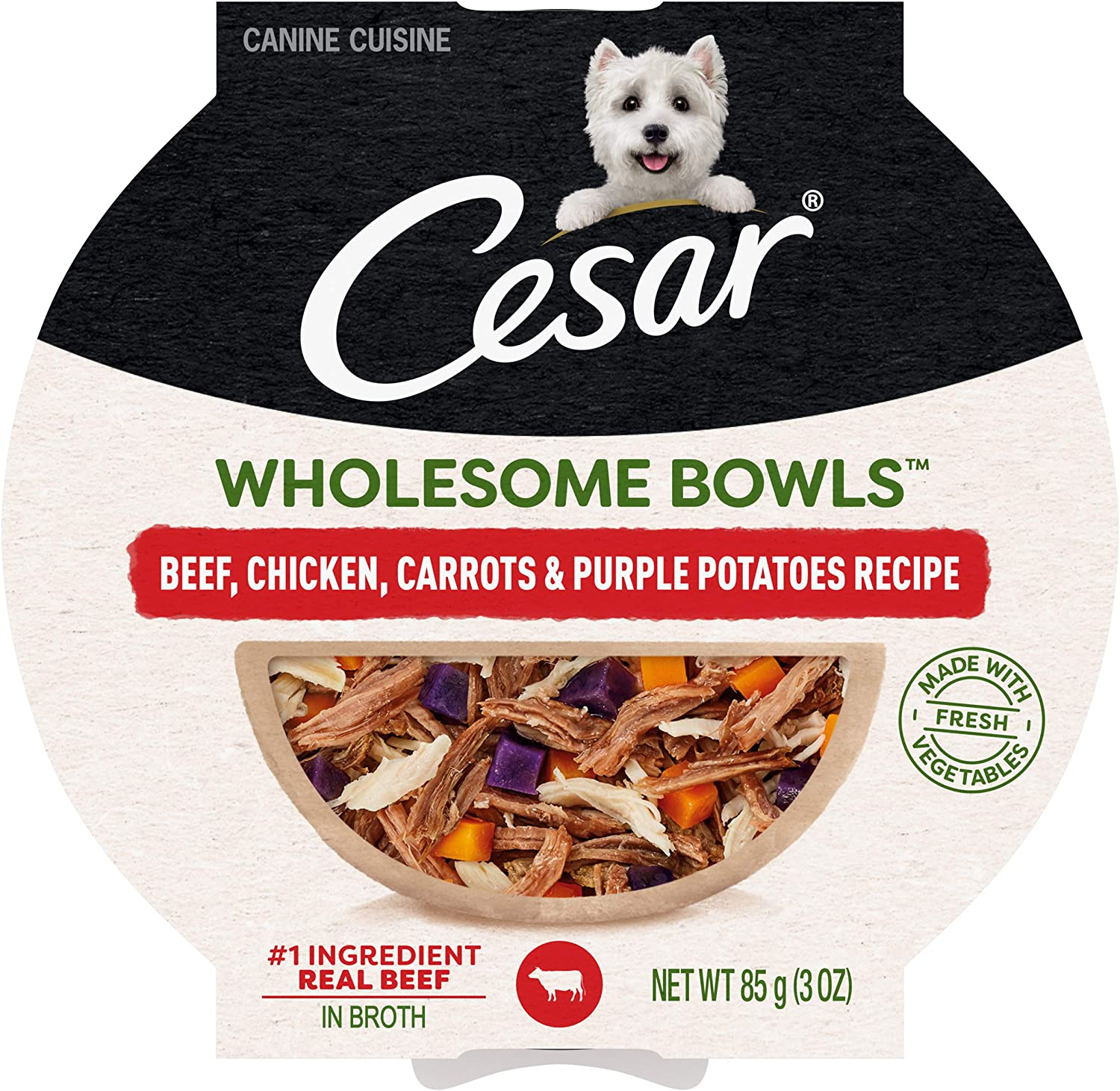 CESAR WHOLESOME BOWLS Adult Soft Wet Dog Food Beef, Chicken, Purple Potatoes & Carrots Recipe, (10) 3 oz. Bowls