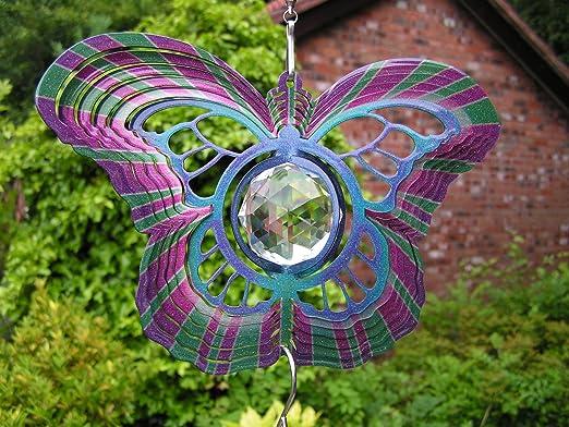 Woodstream 16, 5 cm/15 cm Papillon Cristal à vent + Crochet – Sun Catcher/Twister – Garden ou Indoor- Livré dans une boîte cadeau: Amazon.es: Jardín