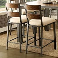 Overstock.com deals on 2 Silver Orchid Fabreges Weathered Oak Counter Height Chairs
