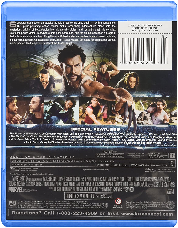 X-Men Origins: Wolverine [USA] [Blu-ray]: Amazon.es: Jackman, Hugh, Schreiber, Liev, Collins, Lynn, Kitsch, Taylor, Reynolds, Ryan, Huston, Danny, Monaghan, Dominic, Durand, Kevin, Ill I. Am, W., Hood, Gavin, Jackman, Hugh, Schreiber, Liev: