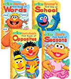 1 2 3 Sesame Street Shaped Board Book Set ~ First Book of Words, Opposites, Seasons, and First Day of School (Set of 4)