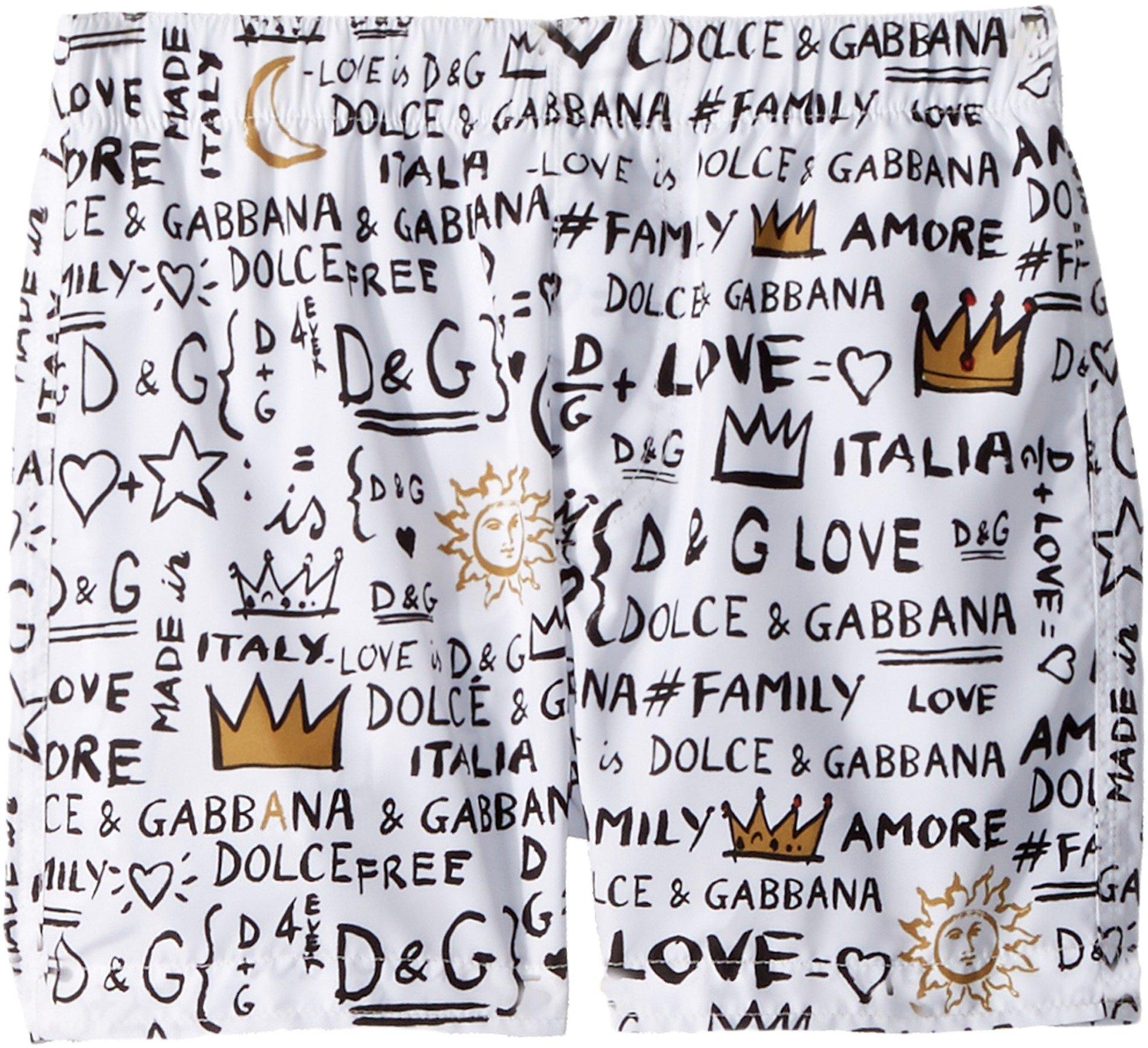Dolce & Gabbana Kids Baby Boy's Regular Boxer (Toddler/Little Kids) White Print 2T (Toddler)
