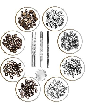 Corchetes (80 piezas) - Plateado y Bronce Corchetes presion Metalicos Remaches para Cuero con