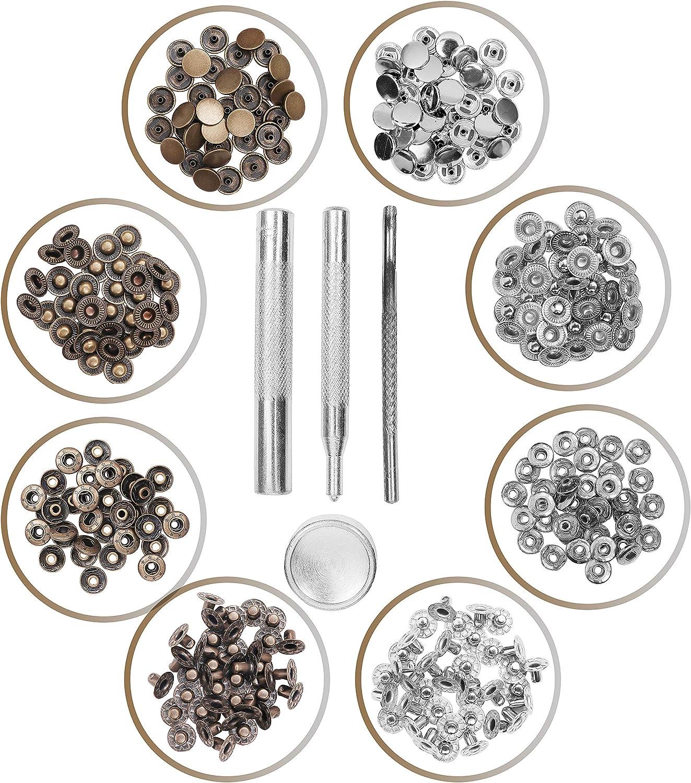 Remaches para Cuero (80 piezas) - Plateado y Bronce Corchetes presion Metalicos Remaches para Cuero con Kit de Herramientas de Reparación - Para Bricolaje de Arte en Cuero y Decoración Artesanal