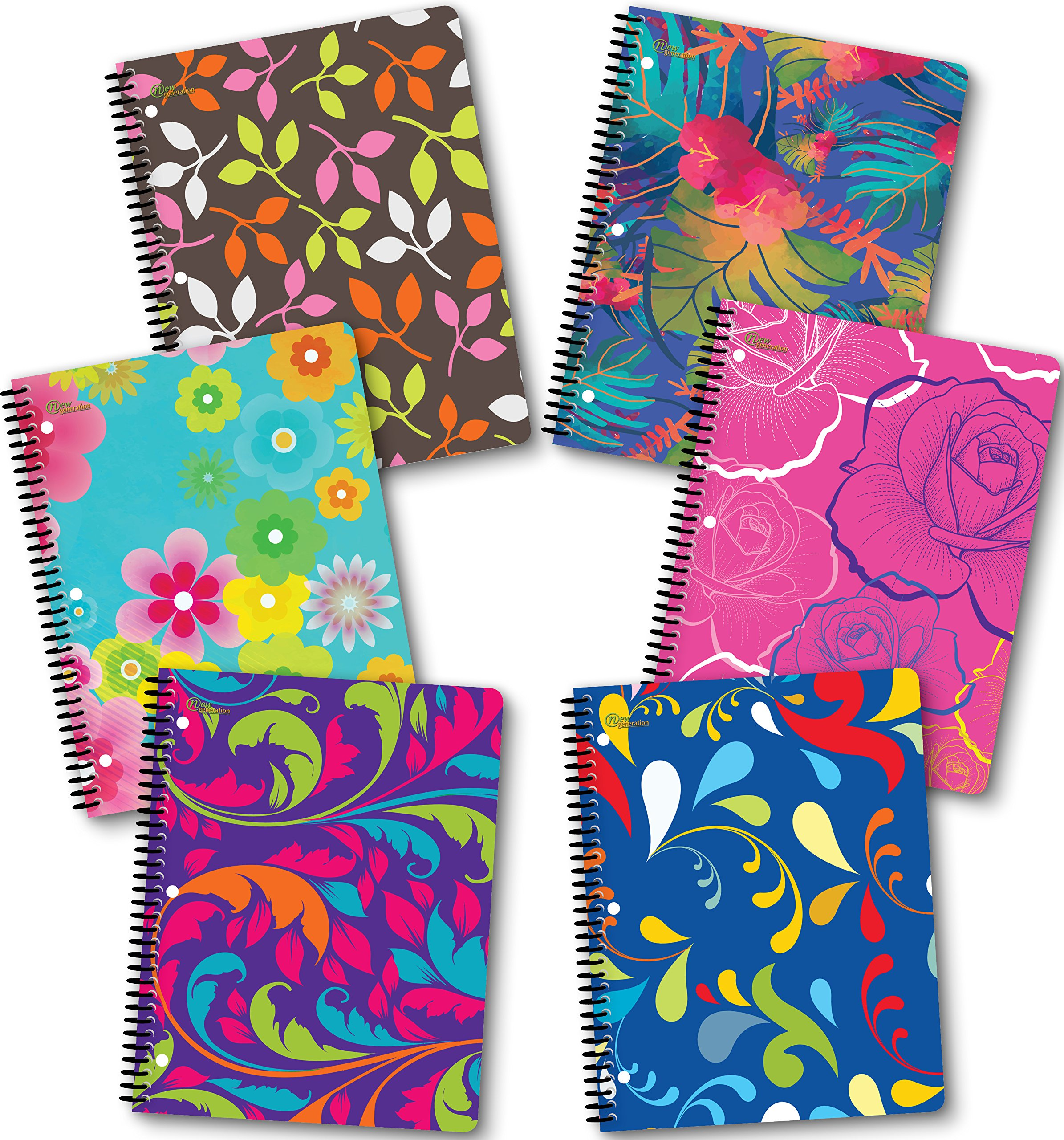 Spiral Notebook 70 Sheets 8'' x 10.5'' wirebound 1 Subject Spiral Notebooks, (6 Pack Spiral Notebook Wide Ruled) Floral by New Generation