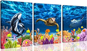 CGXART Bathroom Decor Wall-Art - Sea Turtle Decor - Blue Wall Art for Living Room Killer Whale Mobula Colorful Fish Coral Beach Theme Pictures on Canvas Framed Size 12x16 Inches x3 Pieces