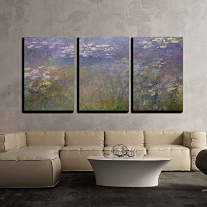Wall26   Water Lilies By Claude Monet   Canvas Art Wall Decor    16u0026quot;x24u0026quot