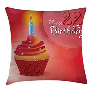 Amazoncom 22nd Birthday Decorations Throw Pillow Cushion Cover by