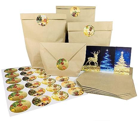 Endlosschenken Adventskalender Für Paare Zum Befüllen Mit Kraftpapiertüten Und Weihnachtlichen Aufklebern Zum Basteln