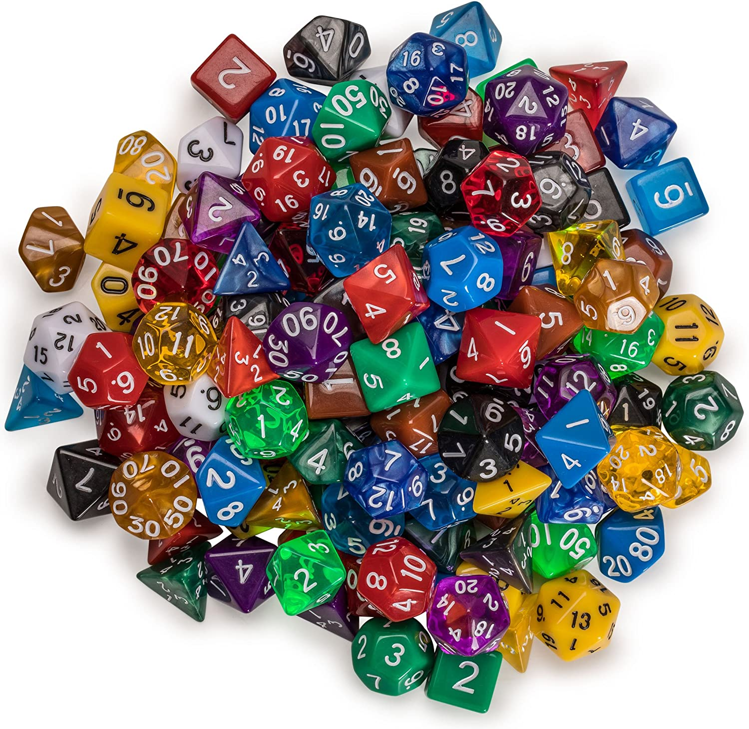 Set of 126 Multi-Colored Dice for Role Playing Games DND Yellow Mountain Imports Polyhedral Dice RPG and Other Dice Games MTG