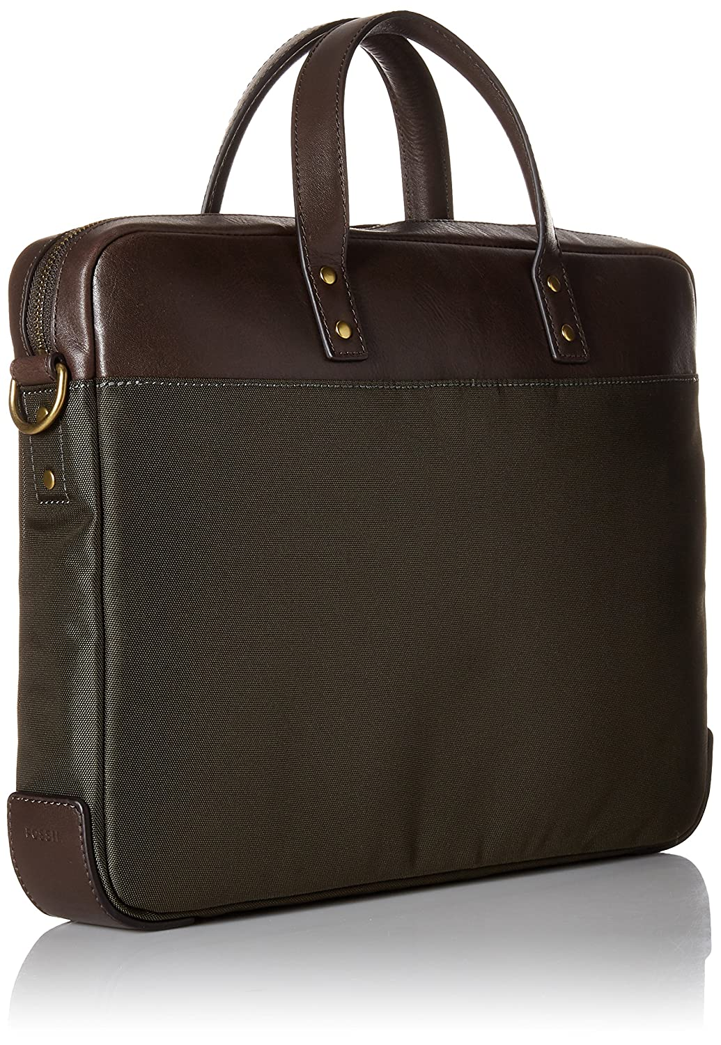 4c9da0dd7 Amazon.com | Fossil Men's Haskell Workbag, Haskell Single Zip Leather  Brief-Green | Briefcases