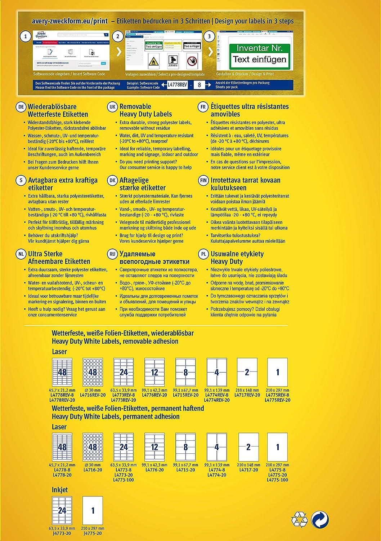 AVERY Zweckform L7874-20 Stark haftende Papieretiketten 540 Aufkleber auf 20 Blatt wei/ß 63,5x29,6 mm auf DIN A4, extrem stark selbstklebend, bedruckbare Power Papieraufkleber