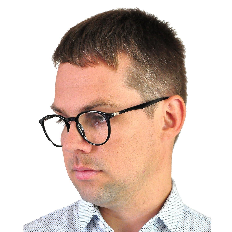 Grandes Lentes Redondos que Bloquean la Luz Azul Incluye Funda GRATIS Gafas Para Leer Elegantes Gafas con Filtro de Luz Azul Unisex para Leer Negra Para Hombre y Mujer +1.0 Dioptr/ías