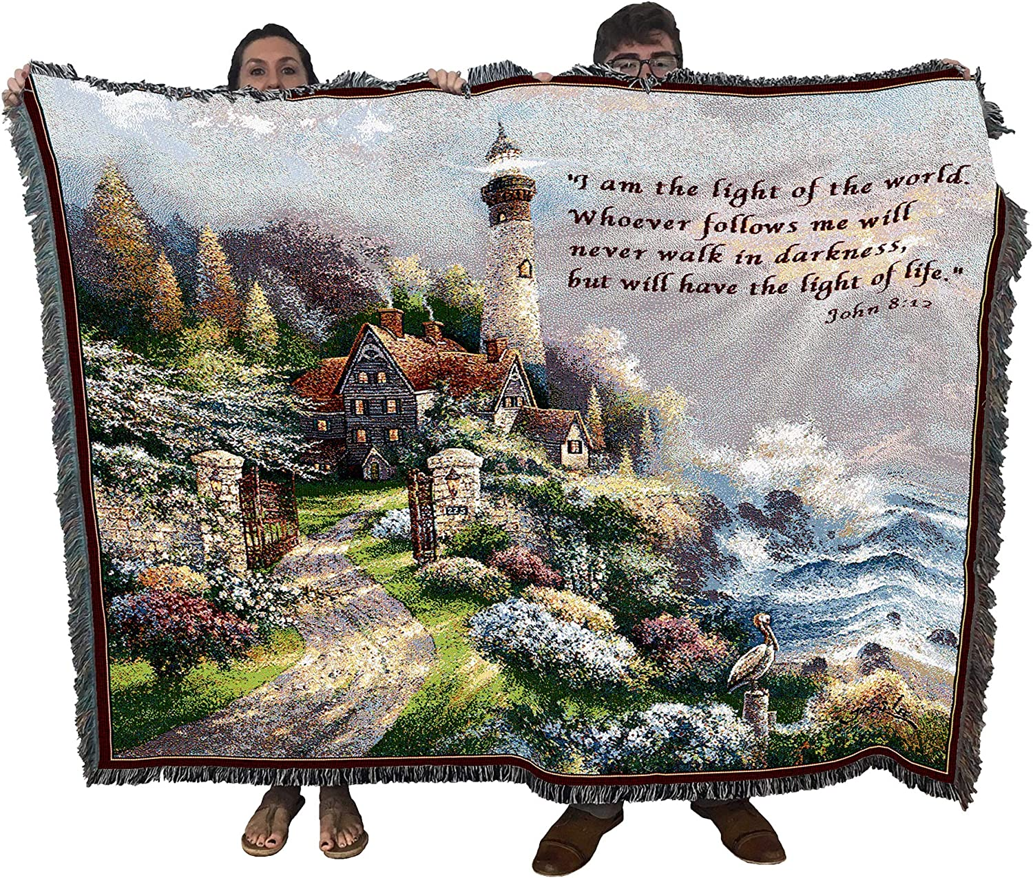 Pure Country Weavers Coastal Splendor with Scripture - I am The Light - John 8:12 - James Lee - Blanket Throw Woven from Cotton - Made in The USA (72x54)