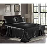 Satin Sheets Queen [4-Piece, Black] Hotel Luxury Silky Bed Sheets - Extra Soft 1800 Microfiber Sheet Set, Wrinkle, Fade, Stai