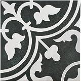 "SomerTile FCD10ARB Burlesque Porcelain Floor and Wall Tile, 9.75"" x 9.75"", Black/Grey/White"