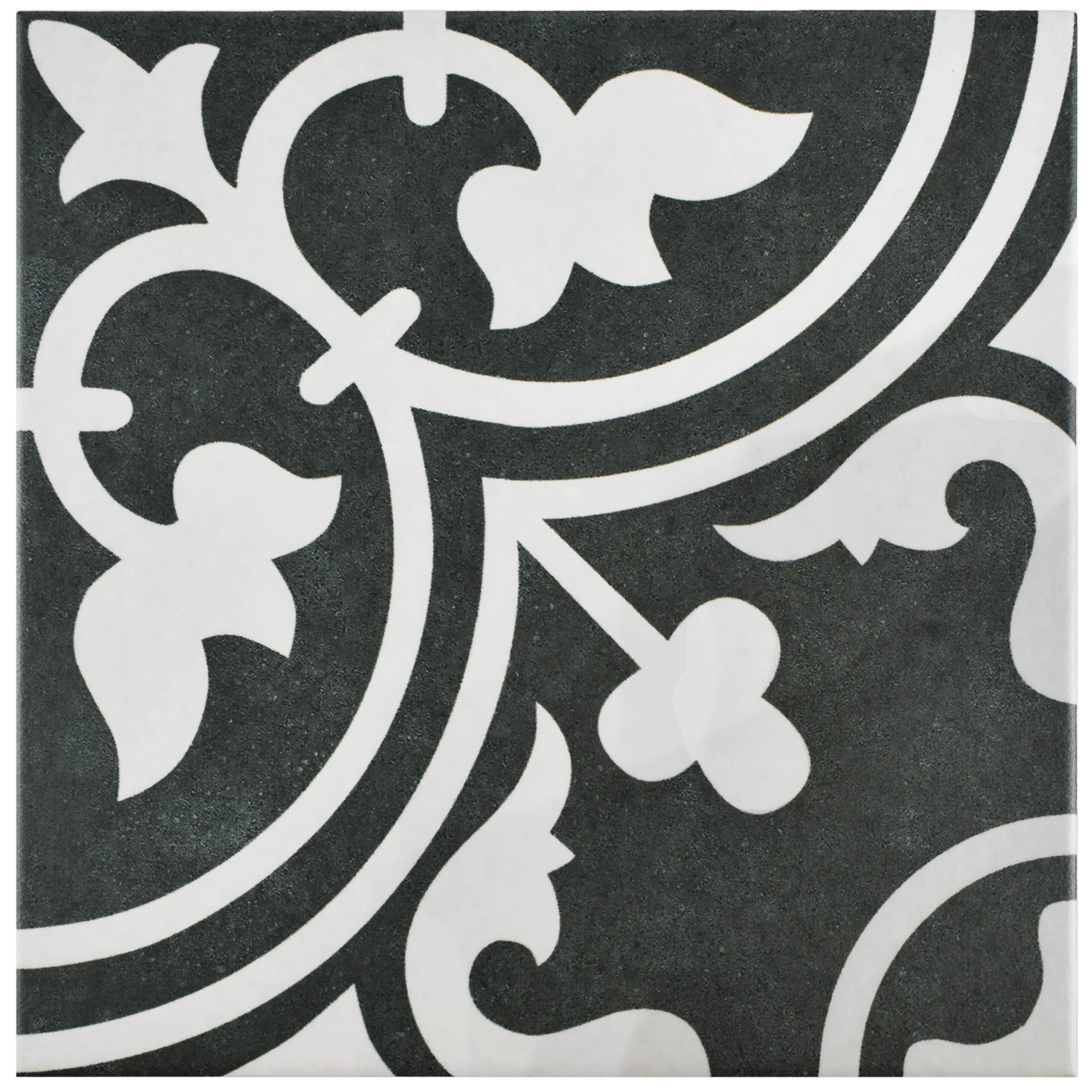 SomerTile FCD10ARB Burlesque Porcelain Floor and Wall Tile, 9.75'' x 9.75'', Black