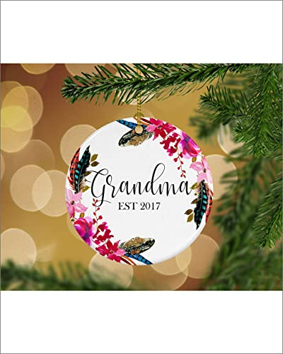 floral pregnancy announcement grandma est keepsake christmas ornament gifts for her christmas gift ideas
