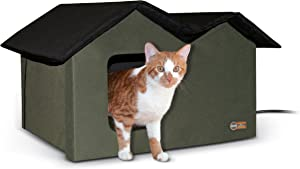 K&H Pet Products Outdoor Kitty House Extra-Wide Olive - Outdoor Cat Shelter (Heated or Unheated)