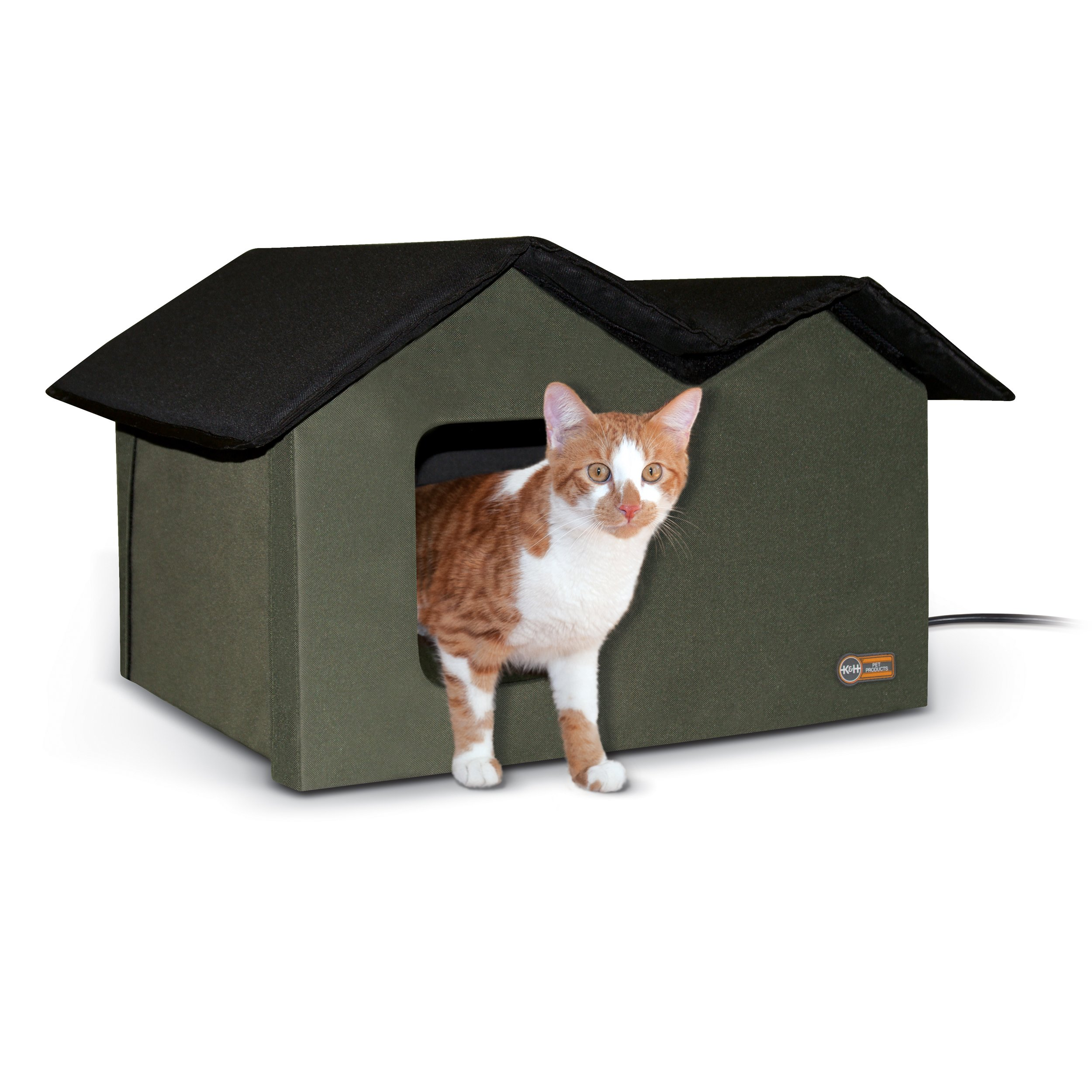 K&H Pet Products Extra-Wide Outdoor Kitty House, 26.5″ x 15.5″ x 21.5″