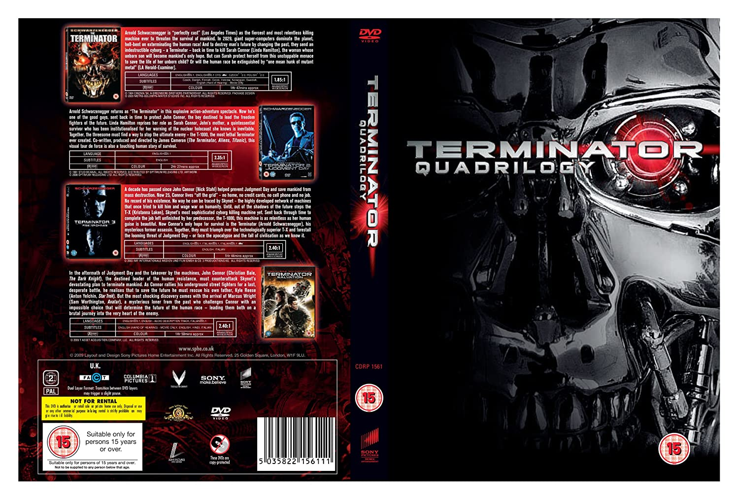The Terminator 1984 Wide Screen DVD Front Cover id3566 | Covers ...