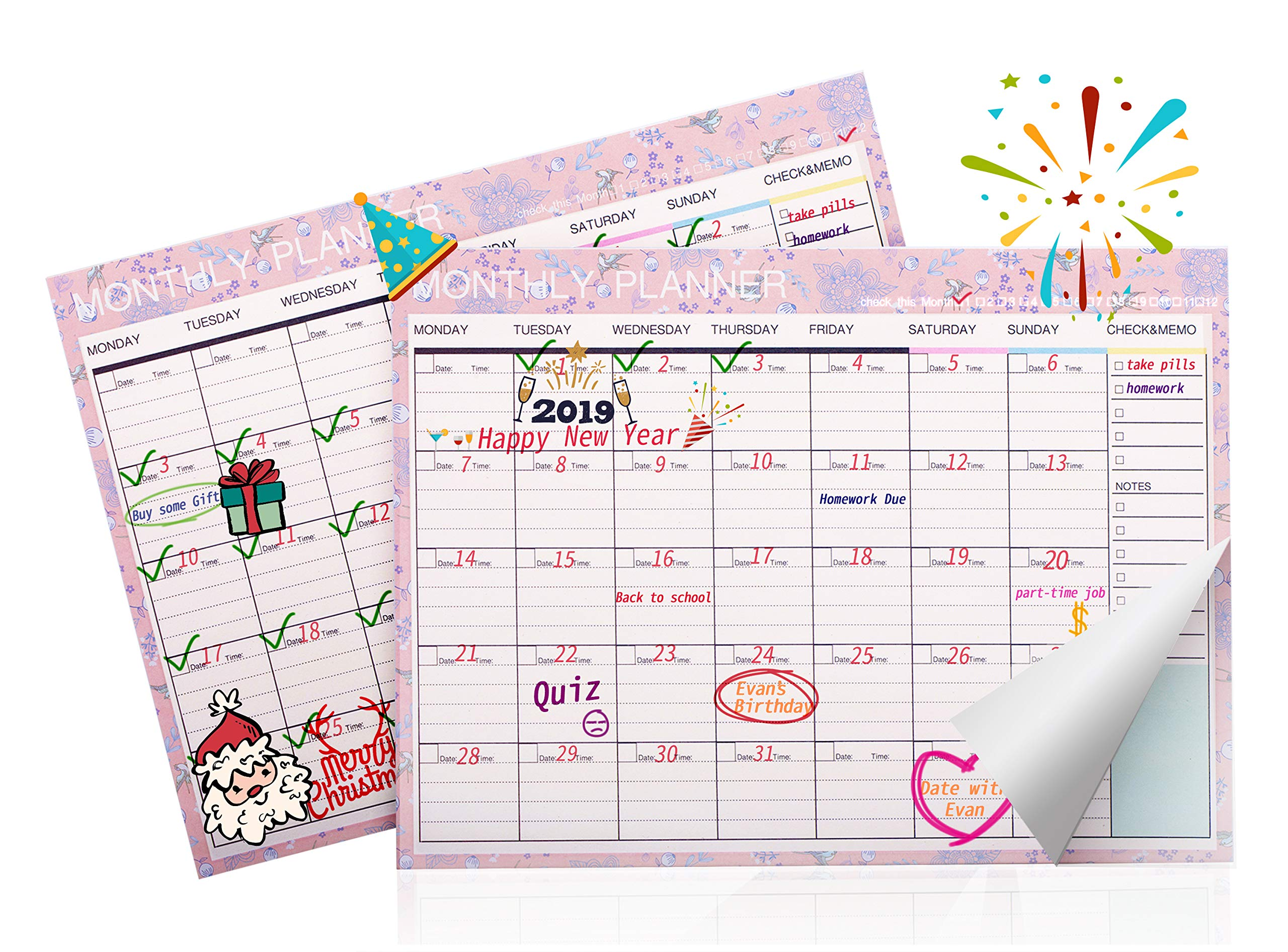 Lazyaunti Monthly Calendar Planner Undated 2018-2019 Tearable Deak Pad Calendar Memo Pad, Notepad Checklist for School, Classroom, Home Use (Pink)