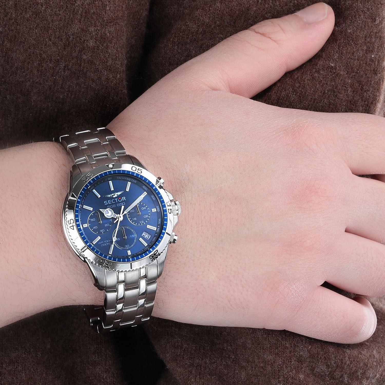 a5be5d3ee39 SECTOR NO LIMITS Herren Chronograph Quarz Uhr mit Edelstahl Armband  R3273962001  Amazon.de  Uhren