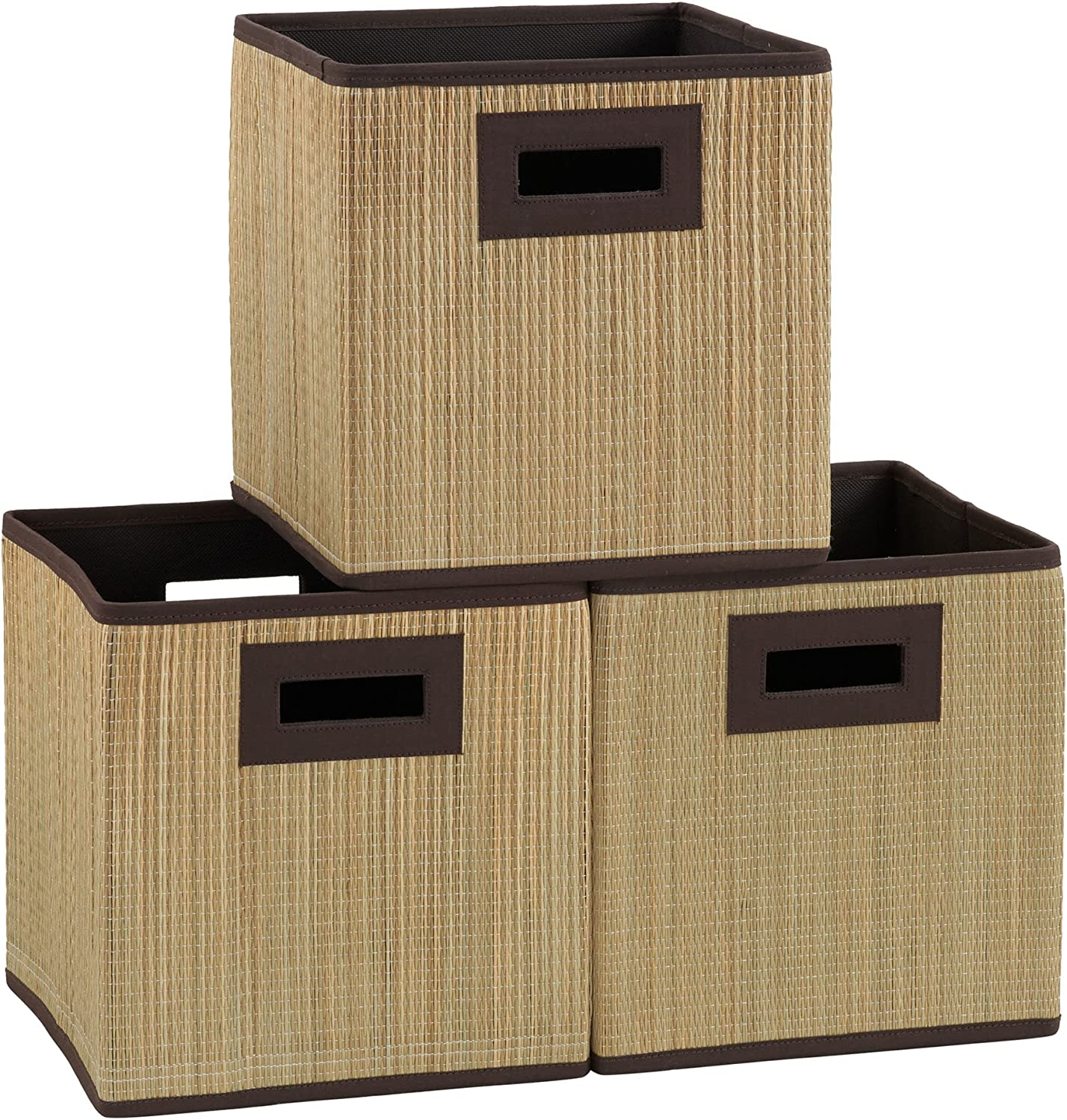 Grass Cloth Wicker Bin Premium Fabric Storage Cubes Household Essentials ML-7070 3 pk Brown