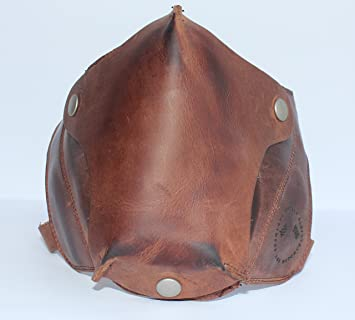 Máscara de Cuero Marrón Óxido para cascos abiertos estilo Cafe Racer