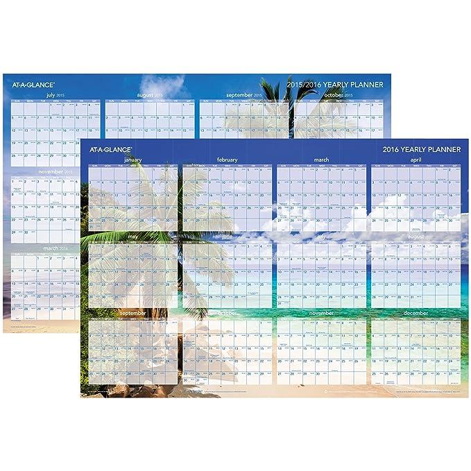 amazon com at a glance wall planner calendar 2016 erasable