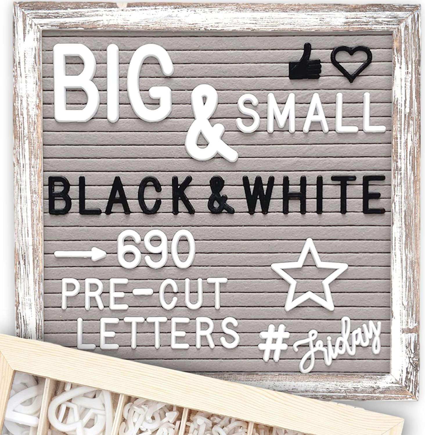 Letter Board 10x10 Rustic Gray | +690 PRE-Cut Letters +Stand +Upgraded WoodenSorting Tray | Farmhouse Felt Letterboard with Cursive Words, Letter Boards, Word Board, Message Board, Changeable Sign