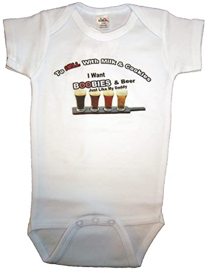 122ff233320b Handmade 4 Babies Boobies and Beer Funny Baby Romper Size 0-6 Months (3