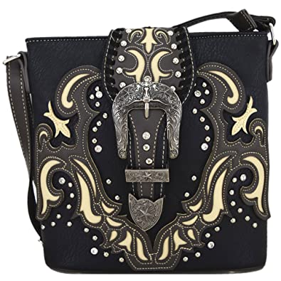 977ae97ecc Western Style Buckle Belts Cross Body Handbags Concealed Carry Purse Women  Country Single Shoulder Bags (Black)  Handbags  Amazon.com