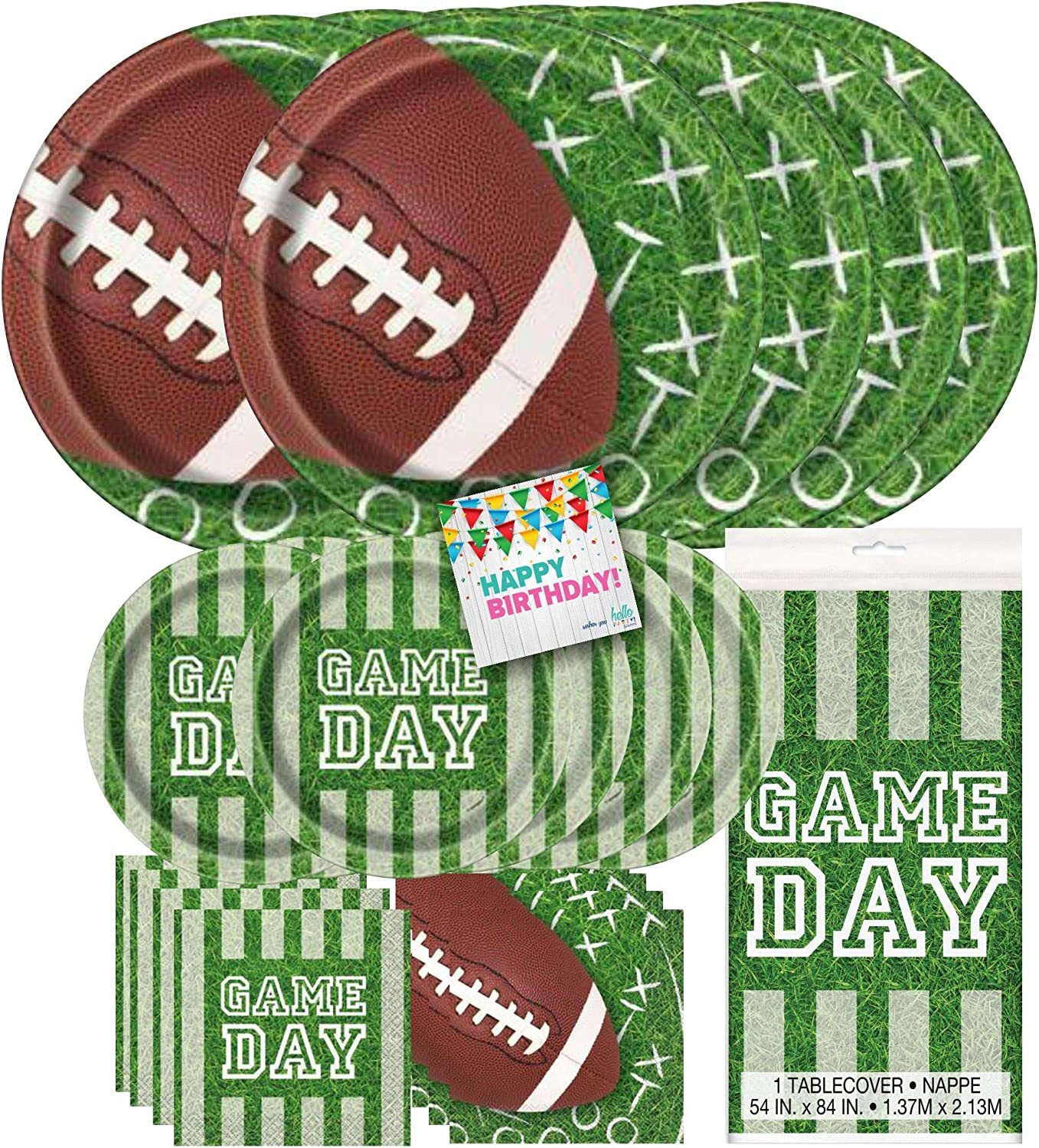 Hello Party! Football Dinnerware Bundle Party Pack Supplies - 16 Luncheon Napkins, 16 Beverage Napkins, 8 Dinner Plates, 8 Dessert Plates, Tableware, for Kid's Birthday Party, Cartoon Themed Event