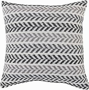 "LR Home Modern Black and Gray Chevron Striped Throw Pillow, 18"" x 18"", Multi"