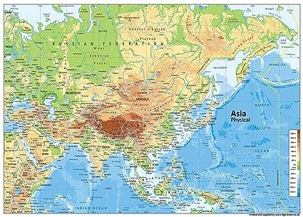 Cartina Asia Politica E Fisica.Cartina Fisica Dell Asia Carta Plastificata Misura A1