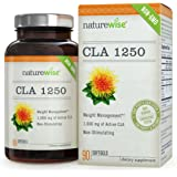 NatureWise CLA 1250, High Potency, Natural Weight Loss Exercise Enhancement, Increase Lean Muscle Mass, Non-Stimulating, Non-GMO 100% Safflower Oil, Gluten Free, 90 count