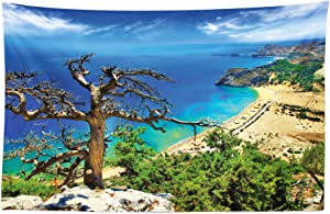 Lunarable Landscape Tapestry, Greek Beach View Rhodes Island Tsambika Coastline Clear Sky and Sea Photo, Fabric Wall Hanging Decor for Bedroom Living Room Dorm, 45