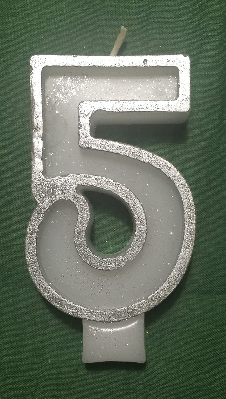 Marvelous Wasiwax Number 5 Birthday Cake Candle Silver Glitter Amazon Co Personalised Birthday Cards Akebfashionlily Jamesorg