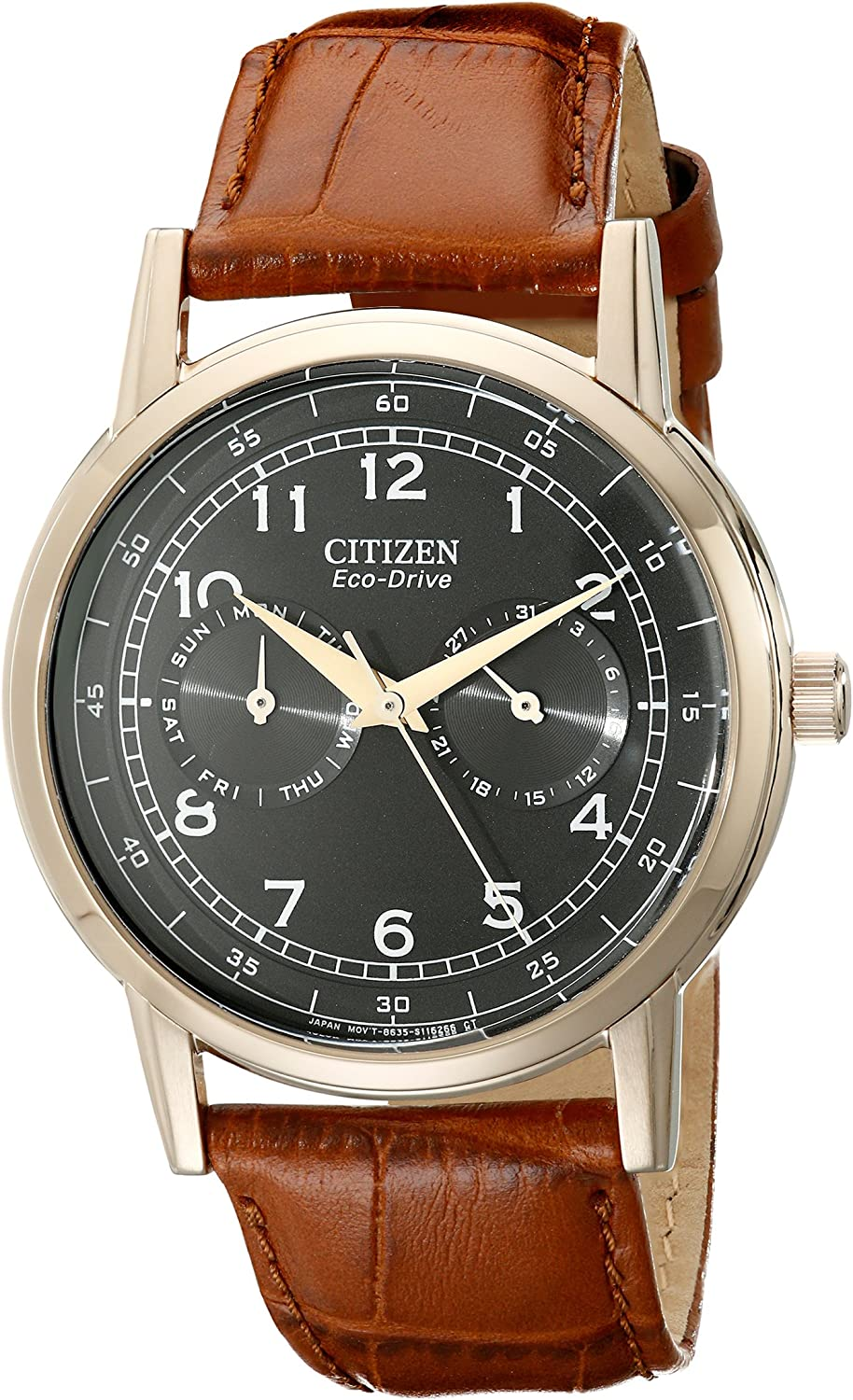 Citizen Watches Men s AO9003-08E Eco-Drive Rose Gold Tone Day-Date Watch