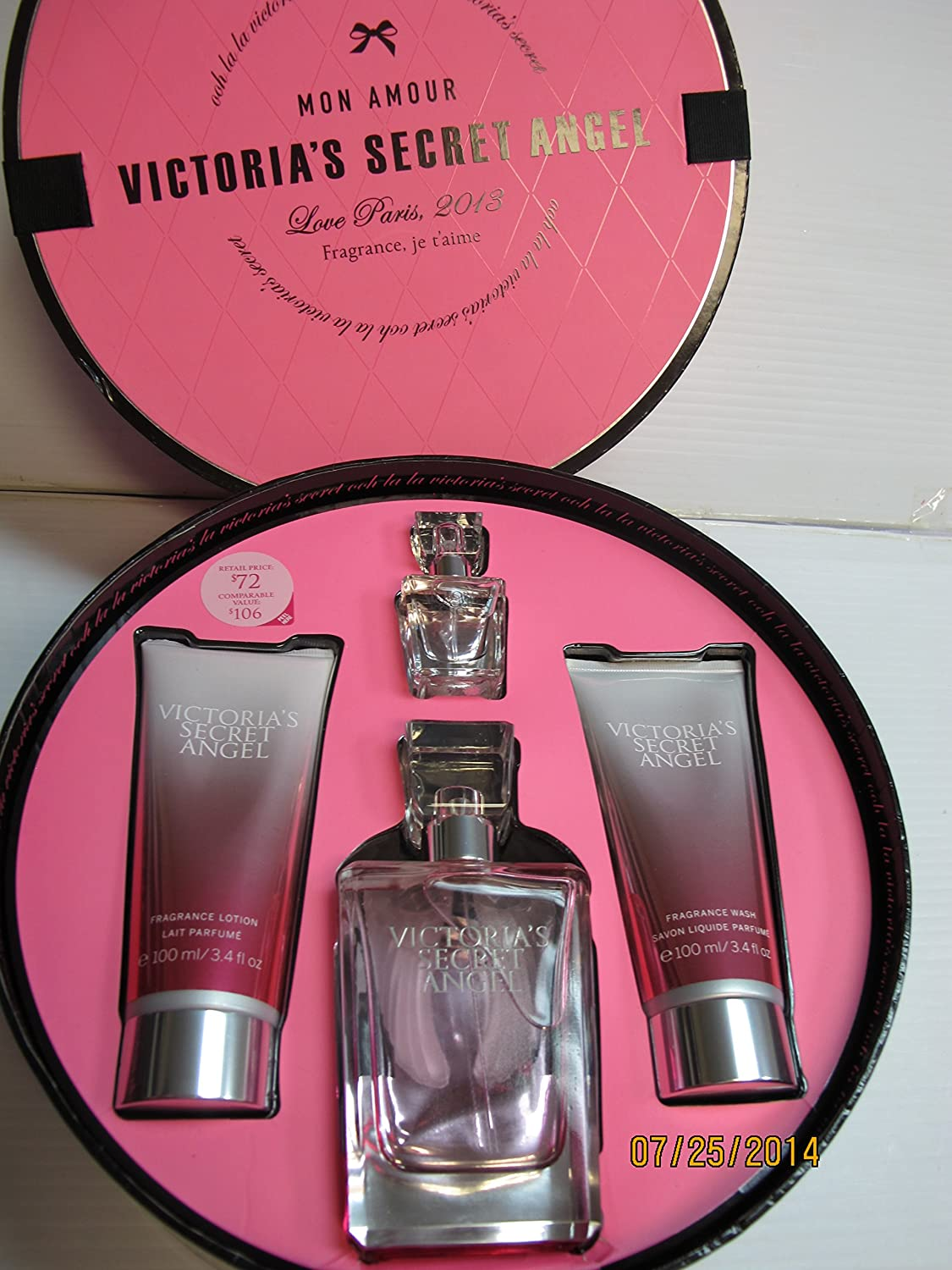 Victorias Secret Angel 4 Pcs Gift Set~eau De Parfum 2.5 Fl Oz,fragrance Lotion 3.4 Fl Oz,fragrance Wash 3.4 Fl Oz