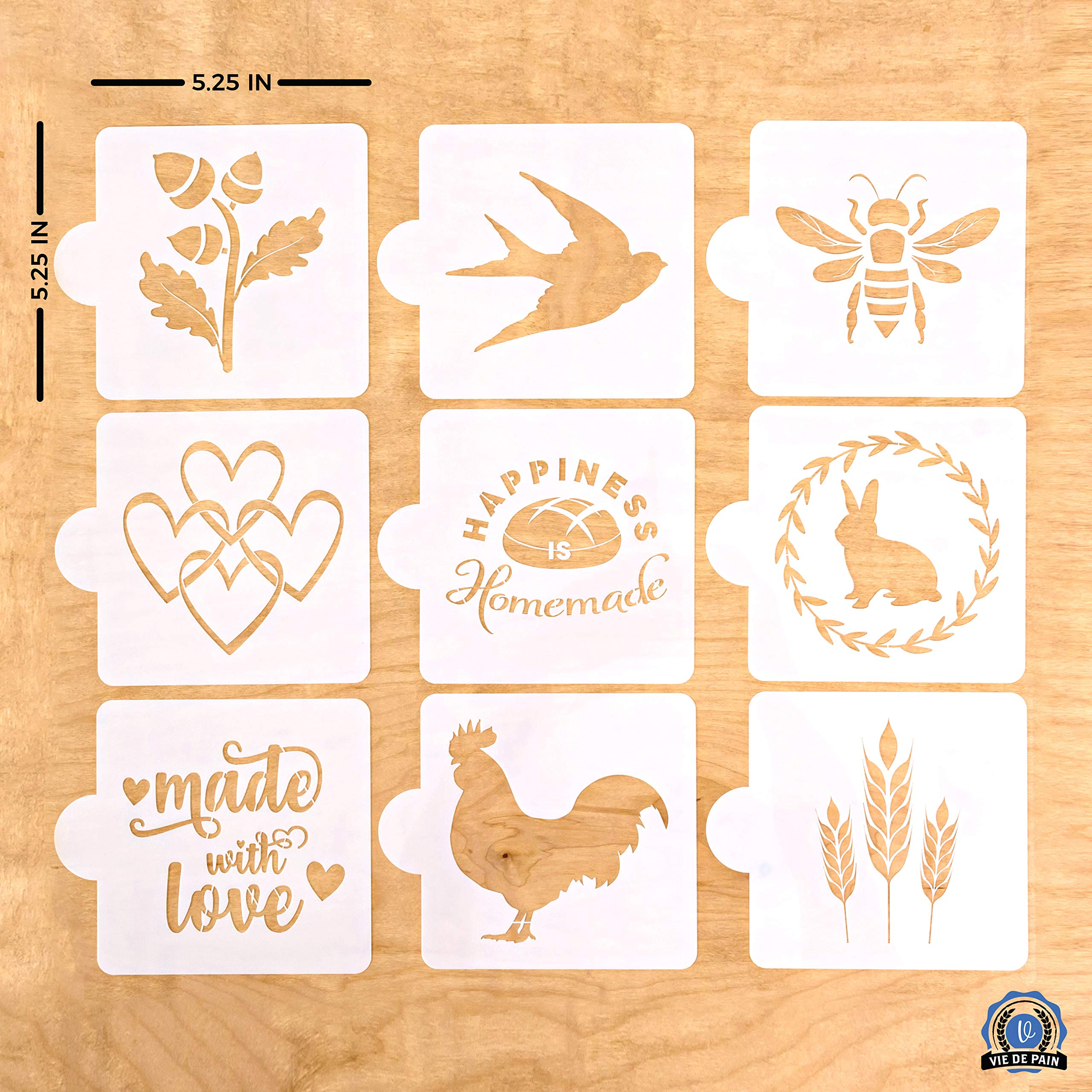 Vie De Pain European Artisan Bread Stencils (Set of 9) - Perfect for Decorating & Baking Bread Loaves, Cakes, Pies or Cookies- 5.25 x 5.25 In. by Vie De Pain V