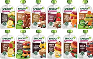 Sprout Organic Baby Food Pouches Stage 2, 12 Flavor Organic Variety Sampler, 3.5 Ounce Pouches (Pack of 12)