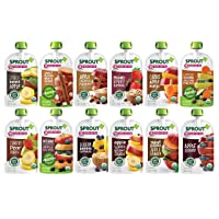 Sprout Organic Baby Food Pouches Stage 2, 12 Flavor Variety Sampler, 3.5 Ounce Pouches (Pack of 12)