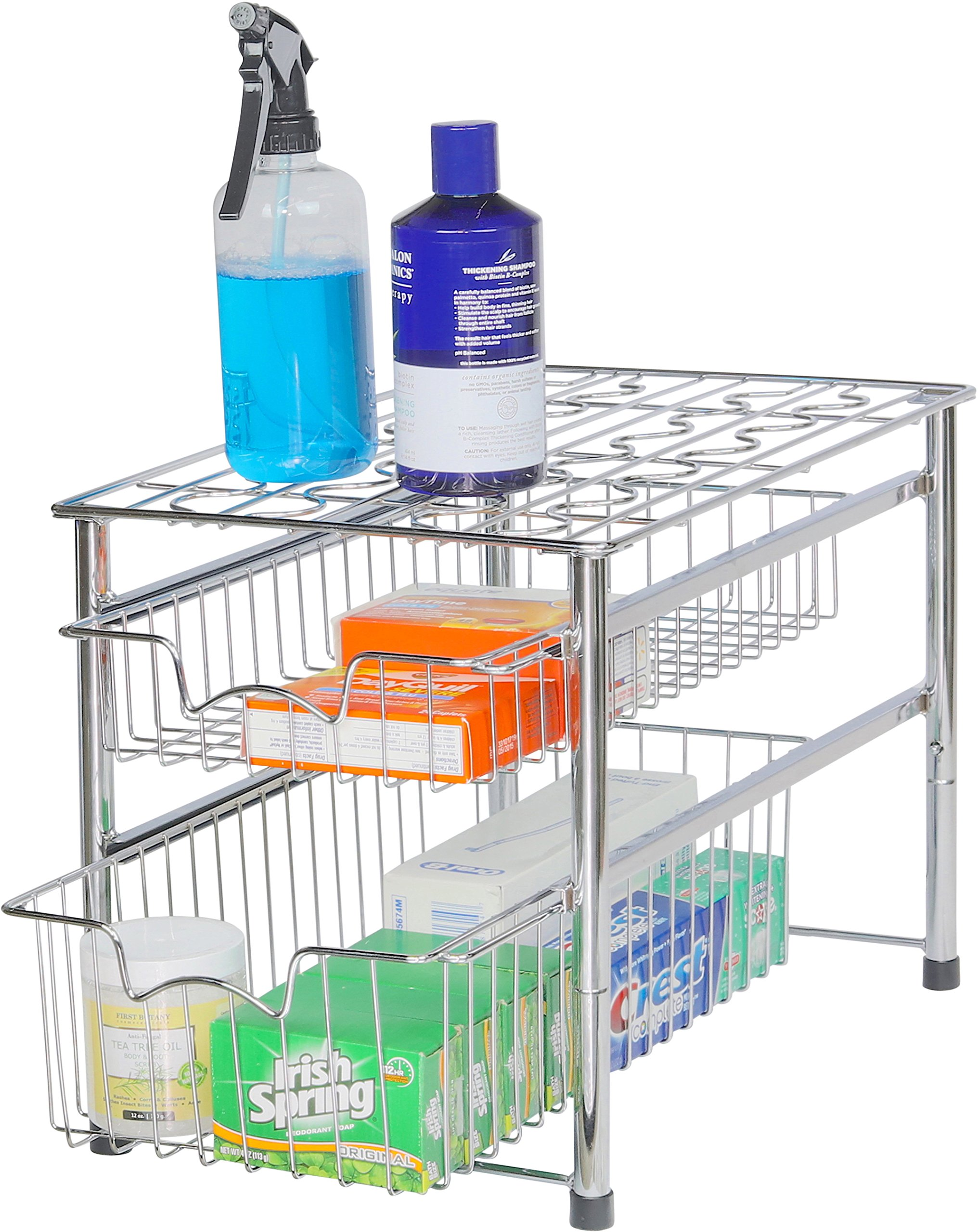 Simple Houseware Stackable 2 Tier Sliding Basket Organizer Drawer, Chrome by Simple Houseware (Image #2)